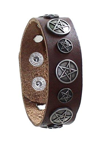 Budawi Lederarmband Pentagramm Ø 18-22 cm in braun, Pentagramm Armband