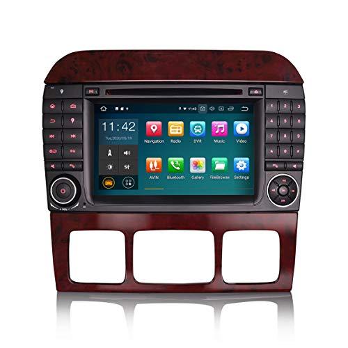 ERISIN 7 Pulgadas Android 10.0 Estéreo de Automóvil para Mercedes Benz Clase S/CL W220 W215 Soporte GPS Sat Nav Carplay Android Auto Bluetooth A2DP WiFi 4G Dab + RDS Enlace Espejo TPMS SWC