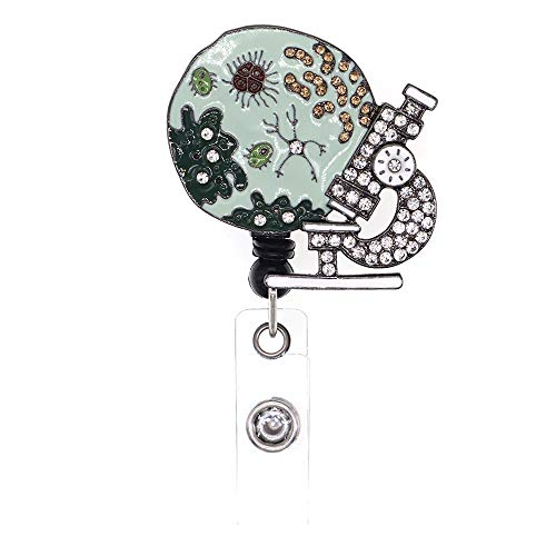 Microscope Bacteria Badge Holder Rhinestone Enamel Retractable Badge Reel Whit Rotating Alligator Clip Suitable for Nurse/Doctor/Volunteer Daily Life and Gifts