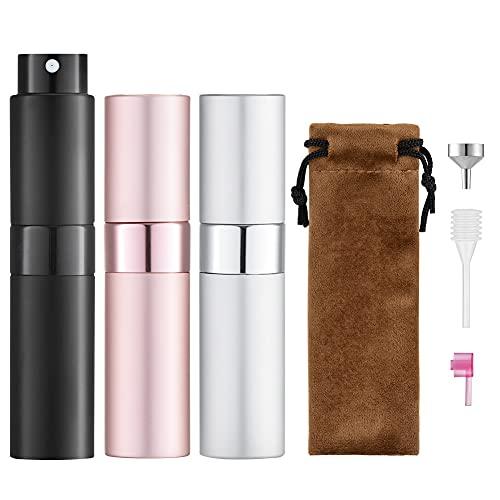 Toureal 8ML Atomizador Perfume (3 Piezas) Bote Spray Pulverizador Vacía, Dosificador para Colonia