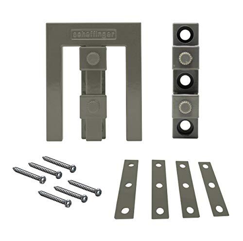 Scheffinger EM3 grau mit Zusatzhülse zur Sicherung von Doppelflügelfenstern und -türen ohne Mittelsteg, Einbruchschutz DIN zertifiziert, hochwertiger massiver Stahl