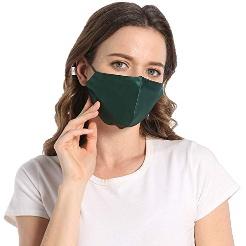 100% Silk Green Face Mask for Women Washable Adjustable Reusable with Filter Pocket-Green