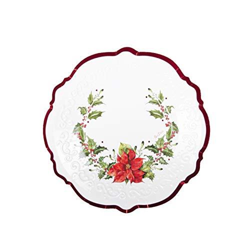 8 assiettes fleurs de Noël 21 cm