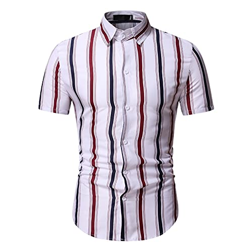 KANGYONG Camisa de manga corta para hombre, diseño a rayas, corte ajustado. B_negro. M