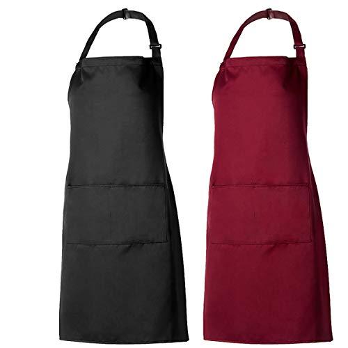 PAMIYO 2 Piezas Delantal de Cocina, Delantales de Cocinero Ajustables con 2 Bolsillo para Restaurante Barbacoa Cocinar Hornear (Negro + Rojo)