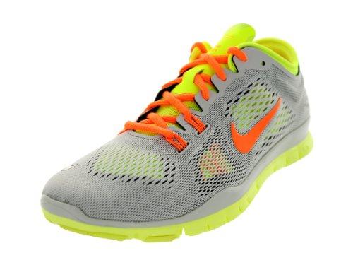 Nike Free 5.0 TR Fit 4, Scarpe da Corsa Donna, (Light Base Grey Atomic Orange Volt Medium Base), 5.5