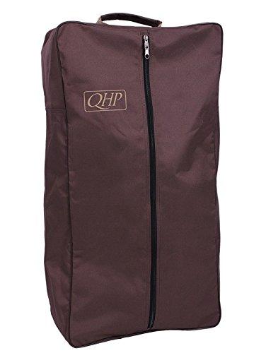 QHP Trensentasche Oxford Stoff mit Reißverschluss, Griff Kettband innen (Braun/Beige)