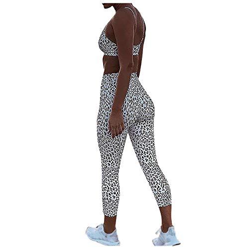 YANFANG Ropa Gym Conjuntos de Yoga Ropa de Mujeres Deportiva Sexy Ajustado Fitness Estampado de Leopardo Traje Deportivo chándal Gym Wear gimnacio Jogger,Push Up,Anticeluliticos Blanco
