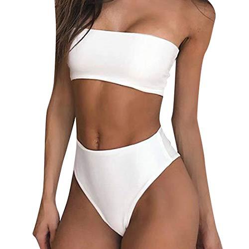 RUUHEE Women Bandeau High Waisted Two Piece Swimsuits Bikini Set High Cut (L(US Size 8-10),White-4)