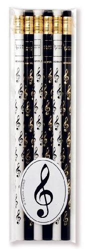 Crayons à papier avec gomme - Clé De Sol - Lot de 6 - Cadeau musique