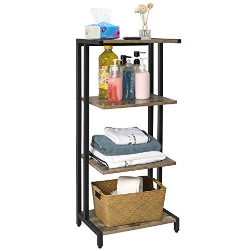 X-cosrack 4 Tier Multifunctional Display Shelf Rack Free Standing Tower Shelf Unit for BathroomHeavy Duty Kitchen Storage ShelvesIndustrial Corner Ladder ShelvesMetal FrameWoodHome
