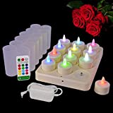 HL Rechargeable Tealights, Flameless Multicolor Flickering Candles Led Light with Remote for Christmas Wedding Party (RGB, 12 Pack)