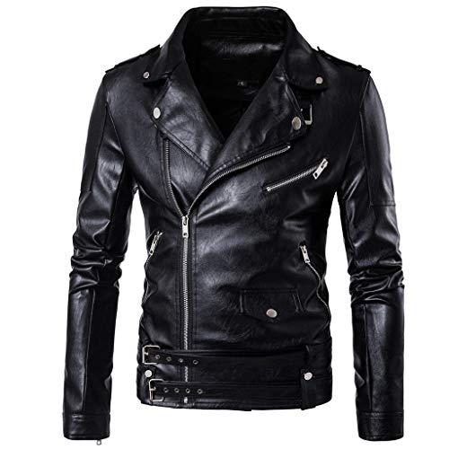 WYGH Chaqueta de Cuero de PU para Hombre Chaquetas de Moto Punk con Cremallera de Solapa Informal con diseño de cinturón Abrigos Punk clásicos Idea para Amante, Black-XL