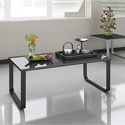Shinawood 6mm gehärtetes Glas Langlebig und Stabil Couchtisch für Wohnzimmer mit Regenbogen Oberfläche und Metallbeine, 105 x 55 x 42 cm (L x B x H) (Schwarz)