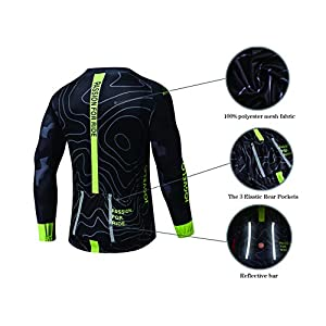 JOGVELO Maillot Ciclismo, Ropa Ciclismo Conjunto Hombre Mangas Largas Jersey + Culotes Ciclismo Reflectante Transpirable, XXL