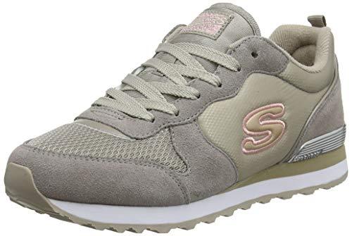 Skechers Retros-OG 85-Goldn Gurl, Zapatillas Mujer, Beige (Nat Black Suede/Nylon/Mesh/Rose Gold Trim), 39 EU