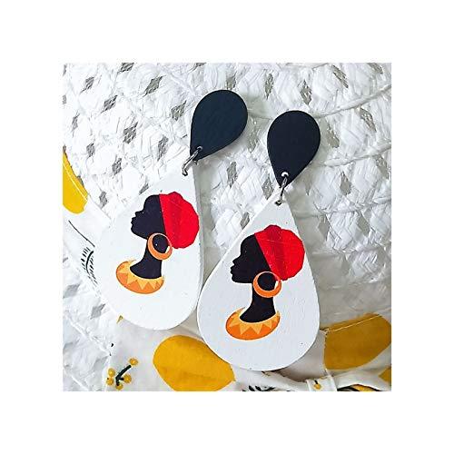 Pendientes de lágrima para Mujer Lámpara de lágrima de Madera Ligera Pendientes de Hoja Redonda Colgante Cabeza Africana Dibujos Animados Cork Impresión Pendientes Pendientes (1 par) (Color : 3)