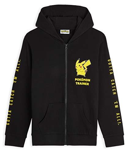 Pokémon Hoodie Jungen, Pikachu Sweatshirt Jungen und Teenager, 100% Baumwolle Kapuzenpullover Kinder 4-14 Jahre, Schwarz Jungen Hoodie (Schwarz, 5-6 Jahre)