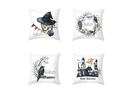 Jwqing Pack of 4 Decorative Pillow Covers Halloween Pattern Square Cushion Cover Throw Pillow Covers Home Decor for Sofa Bedroom-F_50x50cm(Cushion_Cover)