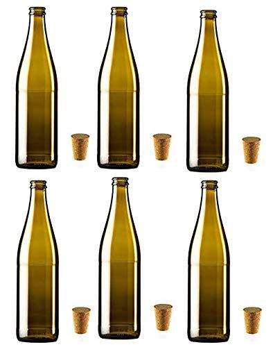 casavetro Bottigliette Vetro con Tappo Sughero - 500 ml - Bottiglia Vuota in Vetro per Vino, Liquore, Acqua, Succo di Frutta, Conserve, Latte, Olio, Birra, Vino, Estratti, Amari (12 x 500 ml)