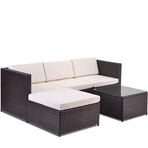 æ— Juego de sofá esquinero de jardín, sofá de ratán, muebles de jardín, juego de muebles de jardín, juego de muebles de ocio y sillas de ocio (marrón)