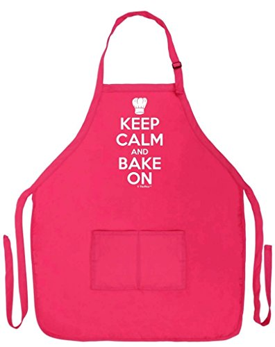 ThisWear Keep Calm and Bake On Funny Apron for Kitchen Baker Baking Two Pocket Apron for Women and Men Heliconia
