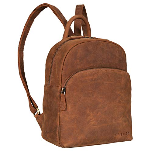 STILORD 'Penelope' Daypack Ladies Leather Backpack Small Leather Rucksack Vintage Handbag City Daypack for Going Out Shopping Pack S Genuine Leather, Colour:tan - Dark Brown