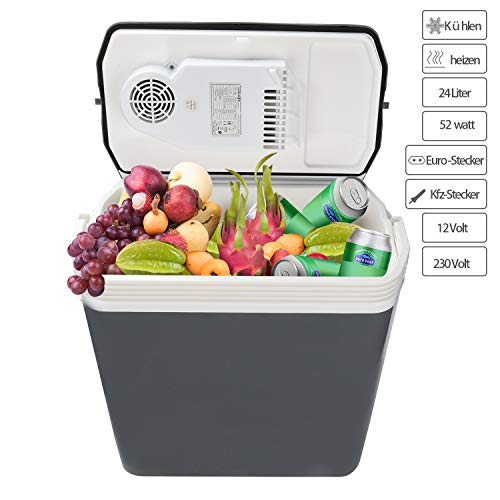 Hengda Kühlbox Thermo-Elektrische 24 Liter, WÄRMT und KÜHLT, Mini-Kühlschrank 12 Volt und 230 Volt, ECO-Modus, mit Tragegriff, für Auto, Innenraum, Camping