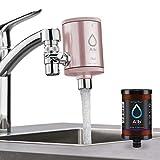 Alb Filter® Duo Active Plus+ Trinkwasserfilter   Armatur Anschluss   Filtert Bakterien, Schadstoffe, Chlor, Pestizide, Mikroplastik.   Set mit Gehäuse und Kartusche   Rosé