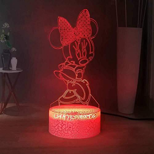 3D Illusion Nachtlicht Sweet Minnie Mouse mit Bogen LED Kinder Nachtlicht 7 Color Touch Fernbedienung Schreibtischlampe USB Home Schlafzimmer Nachttischlampe Mädchen Weihnachten Geburtstagsgeschenk