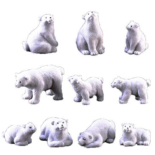 DierCosy Ours Polaire Figurine 10Pcs Statue Résine Animal Paysage Miniature Bonsai Ornement Résine Artisanat