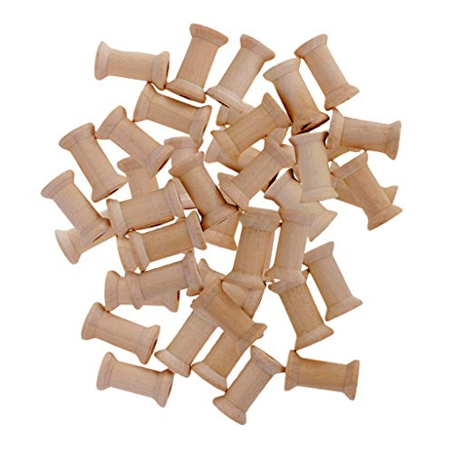kowaku 50 Pack Wooden Bobbins Unfinished Wooden Bobbins Thread Bobbin Cable Wire Sewing Thread