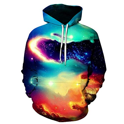 Men's Hoodie Unisex 3D Print Hoodies Hooded Sweater Long Sleeve Galaxy Colorful Warm Sweatshirt Hooded Jacket Breathable Sweatshirt with Pockets Drawstring Loose-Fit Novelty Party Top S