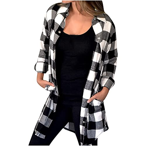 Plaid Shirts for Women Plus Size Long Sleeve Open Front Cardigan Lapel Button Shirt Long Casual Jacket is $12.29 (66% off)
