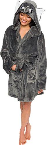 Silver Lilly Damen Bademantel mit Kapuze, Plüsch, kurz, Elefant - Grau - X-Large
