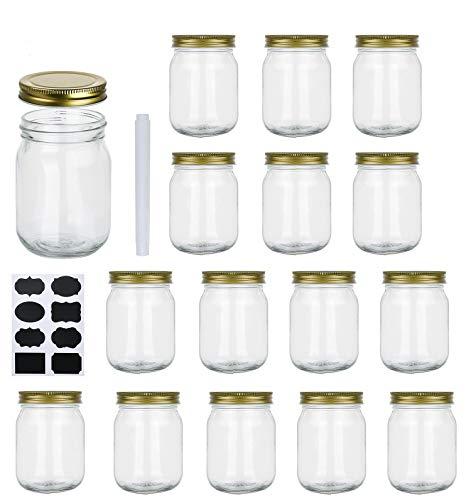 16 oz Glass Jars With Lids, Set Of 15