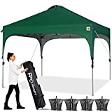 ABCCANOPY Canopy Tent 10x10 Pop Up Canopy Outdoor Canopies Super Comapct Canopy Portable Tent Popup Beach Canopy Shade Canopy Tent with Wheeled Carry Bag Bonus 4xWeight Bags,4xRopes&4xStakes,F-Green