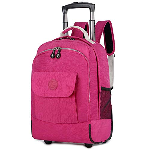 WEISHENGDA 17 inches Water-Resistant Rolling Wheeled Backpack,Lightweight School Books Bag for Students,Pink