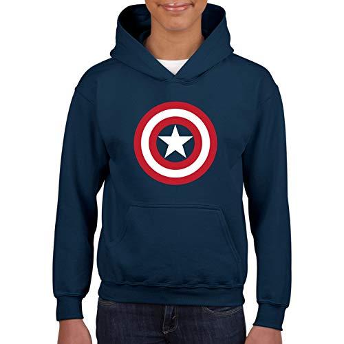 Desconocido Capitán Steve Rogers First Avenger - Sudadera niños con Capucha sin Cordones (Azul Marino, 5 años)