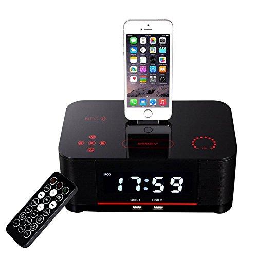 CHUANLAN Doppio Allarme Radiosveglia FM con Lightning Dock Ricarica USB Bluetooth Altoparlante...