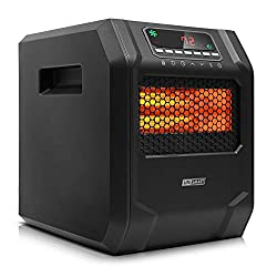 LIFE SMART 6 Quartz Elements Infrared Space Heater with LED Digital Display Screen, Fast Heating with Remote Control and Timer, Thermostat control system with Tip-Over and Overheat Protection for Home
