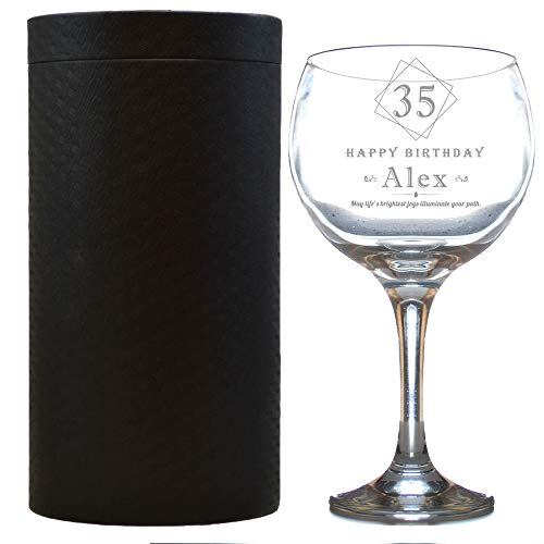 Personalised Gin and Tonic Glass Gift Set Engraved in Box/Balloon Shaped/Birthday/Funny/G and T/Novelty/630 Millilitre 22 Ounces