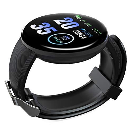 ABOOFAN D18 Pantalla redonda Contando Paso Calorías Pulsera Pantalla táctil Reloj inteligente Moda Fitness Ritmo cardíaco Monitor de sueño (negro)