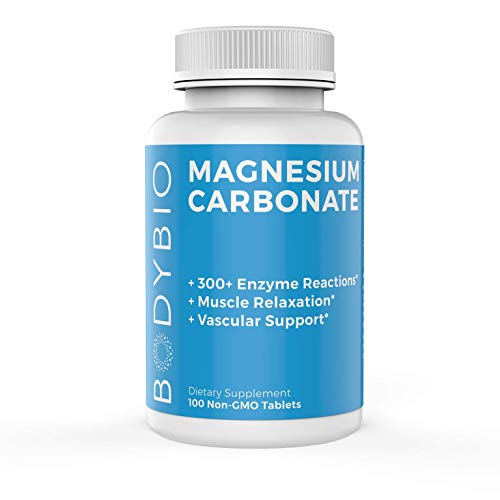 BodyBio - Magnesium Carbonate for Muscle Tension and Vascular Support, 100 Tablets