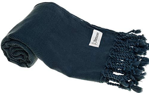 Bersuse 100% Cotton Zuma Stonewashed Turkish Towel - 33X66 Inches, Dark Blue