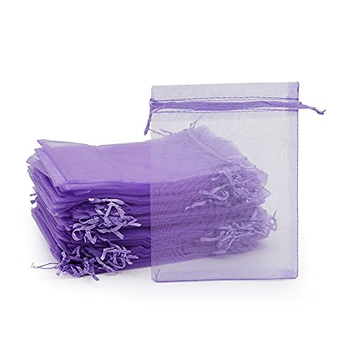 Organza Party Favor Gift Bags, 5x7 Purple Mesh Drawstring for Wedding, Jewelry (100 Pack)