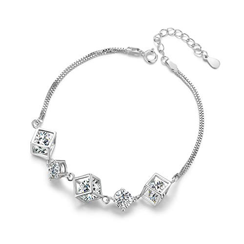 ROYANI Women Charm Bracelet White Gold Plated 925 Sterling Silver with Zirconia Bracelet For Women, Fashion Bracelet With Zirconia, Silver Crystal With Jewelry Box For gift, 21cm White