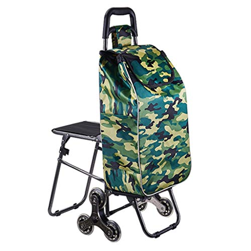 Folding Shopping Cart Multifunctional Folding Shopping Cart A Supermarket Shopping Cart That Can Climb Stairs Large Capacity Cloth Bag (Color : Green, Size : 32 * 50 * 94cm)