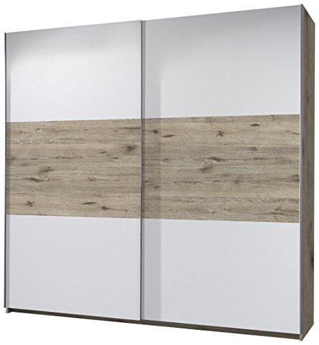 Stella Trading Empire 2-türiger Kleiderschrank, Holz, sandeiche/weiß, 60 x 270 x 210 cm