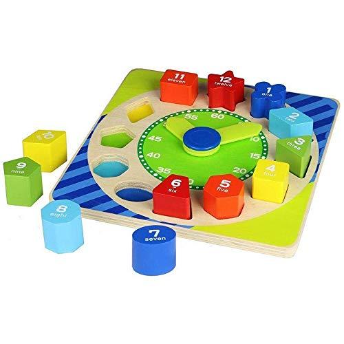 Giocattolo per bambini orologio con blocchi numerati in legno colorato 2759 Multicolore Unica